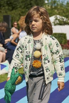 Jacket by Smafolk, T-shirt by Gro, trousers by Rebus at CIFF Kids trend spring 2016 catwalk show