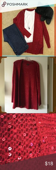 Sequined Red Sweater Duster Fantastic bright red sweater dusted with sequins woven in with the fabric. Perfect for the holidays!! Only worn a couple times so it's in like-new condition. True to size but would probably work for a size L too. Necklace shown in the 1st picture is also for sale (see my closet for separate listing: I discount 20% on bundles). Apt. 9 Sweaters Cardigans