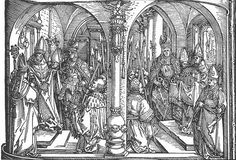 Albrecht Dürer — The Holy Coat of Trier (the robe said to have been worn by Jesus during or shortly before his crucifixion). Triumphal Arch in Barcelona 'Ehrenpforte' , National Museum, Nuremberg. Albrecht Durer, Renaissance, Triomphe, Reproduction, Gustav Klimt, National Museum, Art Images, Les Oeuvres, Printmaking