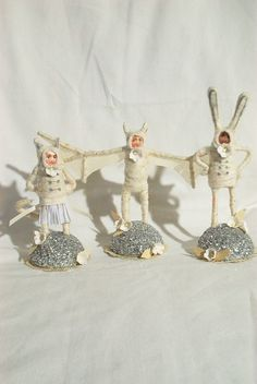 #Spun cotton ornaments.  Love the bat girl.