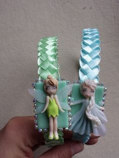 Tinkerbell and the headband in elsa fimo polymer clay by Artmary2, €12.00