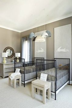 Finnian's Moon Interiors - nurseries - twin nursery, twin nursery design, fraternal twin nursery, fraternal twin nursery design, his and her...