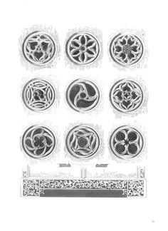 Plate from a book on Medieval architecture and design. These are port windows from European cathedrals.