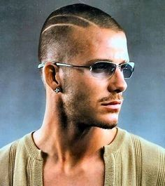 Buzz cut with lines, on trend now.