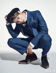 SHINee Jonghyun - Harper's Bazaar Magazine November Issue Male Pose Reference, Photo Reference, Shinee Jonghyun, Cool Poses, Kim Kibum, Male Poses, Drawing Poses, Harpers Bazaar, Karate