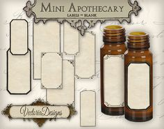 Blank Mini Apothecary Labels different sizes Mini Labels Tags printable images digital collage sheet VD0421