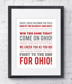 The Ohio State University Fight Song Wall Art by SlaterLanePaperCo