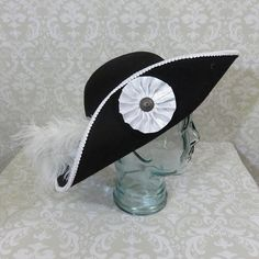 7d498c82aac Black Musketeer- Classic Cavalier Style Hat with White Trim