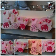 Evie Hanging Banner Name made out of pink felt decorated with fabric and felt elephants and finished off with butterflies. https://www.facebook.com/AHeartlyCraft