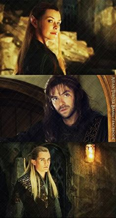 Kili, Tauriel, and Legolas Love Triangle. Boo. In my opinion, Tauriel should be with Legolas. lol XD