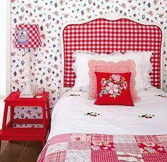I love, love, love the red gingham fabric covered headboard in this picture. It is so pretty and I think it would also look good in other colors/fabrics too. White Cottage, Cottage Style, Girls Bedroom, White Bedroom, Beige Wallpaper, Flower Wallpaper, Red Gingham, White Houses, White Decor
