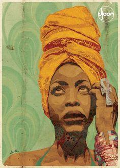 Alma de Pretinha - O trabalho de Luís Alves consiste em misturar padrões de azulejo e tecidos antigos. O resultado é a mistura dessas texturar em retratos de ícones da música, do cinema e tantas outras referências incríveis