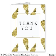 Gold Watercolor Pineapples Thank You Card