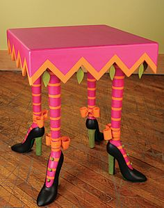high heel table, patience brewster / I have wanted to put heels on legs for many years and just not gotten around to it.