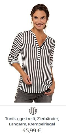 Damen Tunika gestreift Tunic Tops, Women, Fashion, Tunic, Moda, Fashion Styles, Fashion Illustrations, Woman