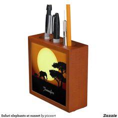 Safari elephants at sunset pencil holder