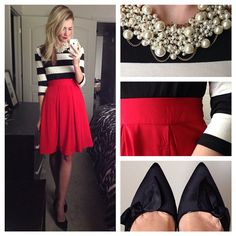 """Playing dress up again to bring you another holiday inspired look❤️. I love the idea of using separates for party looks. One statement skirt in a bold…"""