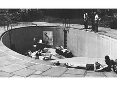 HANS RICHTER LIBBY HOLMAN S SWIMMING POOL USED FOR A SCENE IN THE FILM 8x8, 1957 Hans Richter, Visual Communication Design, Collage Design, Black N White, Land Art, Play Houses, Rue, Playground, Swimming Pools