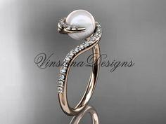 14kt rose gold diamond, pearl engagement ring VP8199