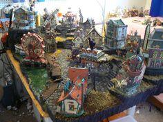 halloween village displays | Halloween Boardwalk Snow Village Display