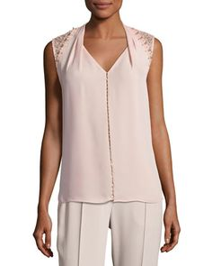 Barbara+Lace-Trim+Silk+Blouse+w/+Pearly+Embellishments,+Pink+by+Elie+Tahari+at+Neiman+Marcus.