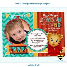 Daniel Tiger Invitation with Photo, Turquoise & Red Theme, I Design You Print • Style #007