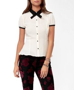 Contrast Peplum Shirt w/ Neckerchief | FOREVER 21 - 2019571762