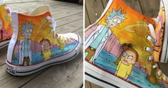 I Hand-Painted These Shoes With Rick And Morty Characters | Bored Panda