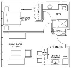 1 bedroom guest house floor plans one bedroom house plans one bedroom find house plans this is exactly what i was thinking 1 bedroom bungalow floor pl. Bungalow Floor Plans, Cabin Floor Plans, Apartment Floor Plans, One Bedroom Apartment, Apartment Ideas, Studio Apartment Plan, 1 Bedroom House Plans, Guest House Plans, Small House Plans