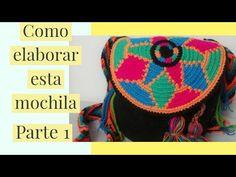 COMO HACER MOCHILA WAYUU PASO A PASO // PARTE 1 // - YouTube Tapestry Bag, Tapestry Crochet, Knitted Bags, Weaving, Crochet Hats, Knitting, Pattern, Youtube, Crochet Pouch
