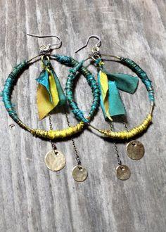 Big Hoop Earrings Hippie Earrings Bohemian by DeerGirlDesigns, $30.00