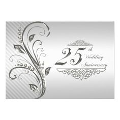 Sparkle silver 25th wedding anniversary invitation pinterest 25 25th wedding anniversary invitation stopboris Images