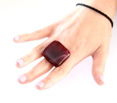 Maroon Cocktail Ring Glass - big bold handmade statement ring  - New Year Fashion 2013 - 1.3 inch. $22.00, via Etsy.