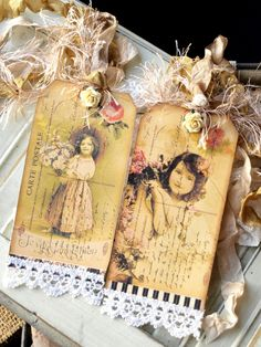 These altered tags are so gorgeous and shabby! ~Love~