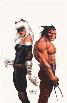 Black Cat & Wolverine by Joseph Michael Linsner