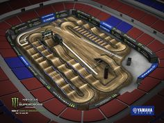 The Monster Energy AMA Supercross from the Dome at the America's Center in St Louis Dirt Bike Track, Motocross Tracks, St Louis Mo, Monster Energy, Yamaha, Racing, Maps, Hunters, Trials