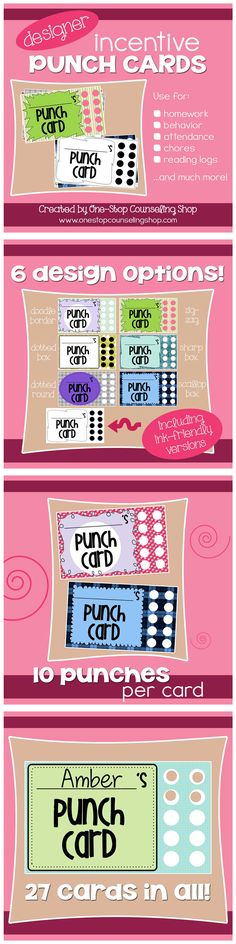 Visual reinforcement for #behavior is always best and these punch cards are a fun, easy way to encourage your students to show appropriate behavior. Ideas for use include homework completion, attendance, appropriate behavior during the day – the possibilities are endless! This pack includes 27 cards. Most are already colored, but a few are blank to allow your students to personalize them with their own color choices.