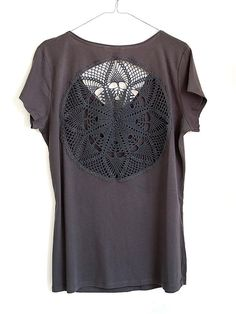 New Grey t-shirt with upcycled vintage crochet doily back