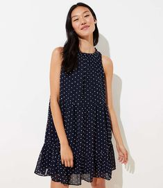 Petite Dotted Tiered Swing Dress in Forever Navy Dot Dress, Dress Me Up, How To Wear Sneakers, Spring Dresses, Nordstrom Dresses, Swing Dress, Cold Shoulder Dress, Style Inspiration, Clothes For Women