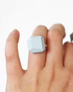 pale blue geo ring by amerrymishap on Etsy, $14.99