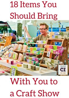 18 Items You Should Bring with You to a Craft Show - Creative Income For all of our small business owners who participate in craft and trade shows. Check this out: 18 Items You Should Bring with You to a Craft Show Making Money money making ideas Craft Show Booths, Craft Booth Displays, Craft Show Ideas, Display Ideas, Booth Ideas, Craft Fair Ideas To Sell, Stall Display, Fall Craft Fairs, Booth Decor