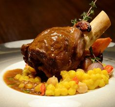 Recipe: Braised Lamb Shank with Garbanzo beans, Pearl Onion and Saffron Couscous from @Four Seasons Hotel Riyadh at Kingdom Centre.