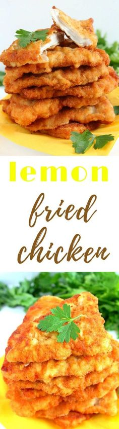LEMON FRIED CHICKEN - Learn to make delicious, golden, crispy chicken with this easy lemon fried chicken recipe. Creates tender/crispy chicken breast pieces with a lovely golden coating, great with mashed, boiled or fried potatoes. #chickenrecipes #friedchicken #lemonchicken #lemon #fried #yummy #delicious #recipe #recipeoftheday #recipeideas