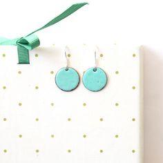 Jewelry Gift Earrings  Round Enamel Earrings by iamrachelshop