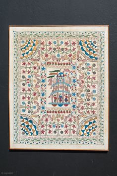 A very fine antique XIXth Century Kantha. Silk and cotton. Frame-mounted over 75 years ago. Pristine condition without any damage or repair. 43 x 35 inches. Indian Embroidery, Hand Embroidery Designs, Embroidery Stitches, Embroidery Patterns, Kitsch Art, Interior Rugs, Kantha Stitch, Vintage Quilts, Textile Design