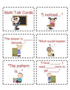 MATH TALK CARDS--FREEBIE!!!