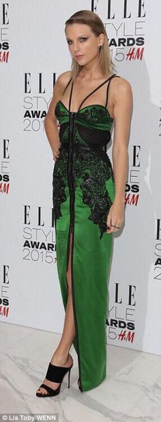 Taylor wearing Julien Macdonald at the Elle Style Awards 2015