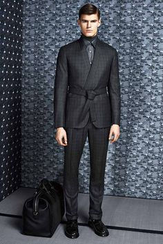 Prince-of-Wales wool, cashmere and silk kimono suit jacket Prince-of-Wales wool, cashmere and silk trousers Midnight smoke wool and silk turtleneck Printed silk shirt Black brushed calfskin loafers Mink and calf leather doctor bag