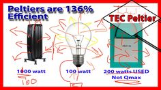 🎓 Peltiers are 136% efficient:- Conservation of Energy. Part1