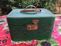 60's Emerald Green Faux Snakeskin with Leather Luggage Small Travel Train Case by ElkHugsVintage on Etsy
